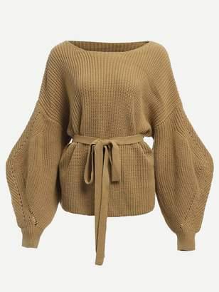 Shein Bishop Sleeve Belted Sweater