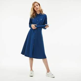 Lacoste Women's Belted Cotton Petit Pique Shirt Dress