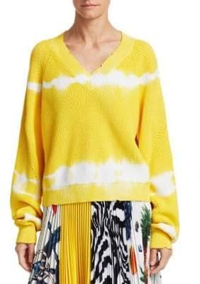 MSGM V-Neck Tie-Dye Knit Sweater