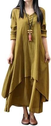 QIYUN.Z Women's Linen Long Sleeve Irregular Loose Long Dress, 3XL
