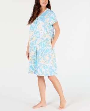 Miss Elaine Printed Interlock-Knit Short Gripper Robe
