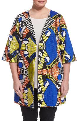 Marina Rinaldi Fila Half-Sleeve Bold-Print Jacket, Plus Size $910 thestylecure.com