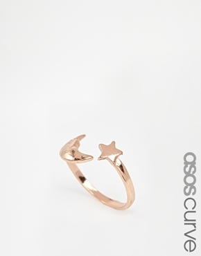 ASOS Curve ASOS CURVE Moon Star Ring - Rose gold