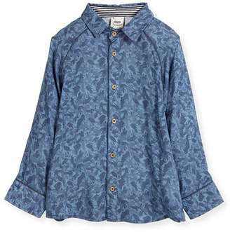 Fore Paisley Wave Printed Button-Down Shirt, Size 2-8