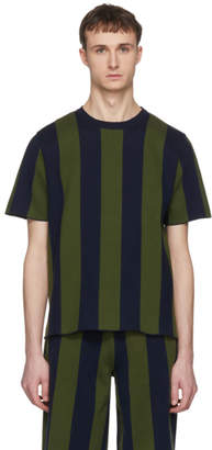 Sunnei Green and Navy Striped T-Shirt