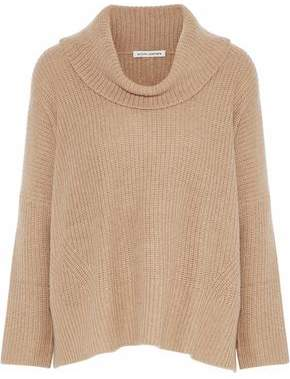 Autumn Cashmere Draped Ribbed-Knit Sweater