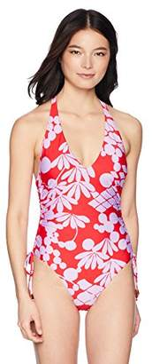 Trina Turk Women's High Leg V-Front One Piece Swimsuit