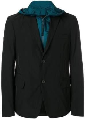 Prada hooded layered jacket
