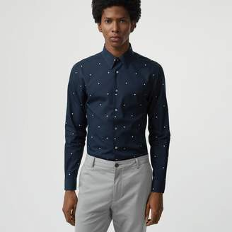 Burberry Slim Fit Polka Dot Cotton Poplin Shirt , Size: 15.5, Blue