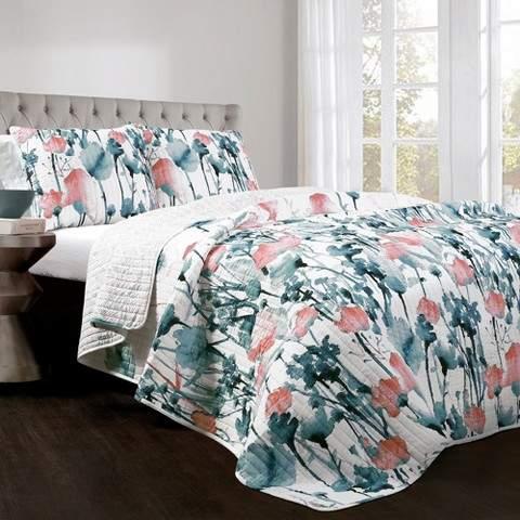 Blue & Coral Zuri Floral Quilt Set