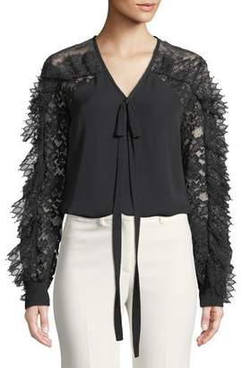 Elie Saab Lace-Sleeve V-Neck Tie-Front Silk-Blend Blouse