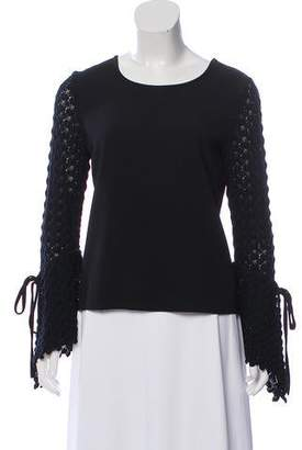 See by Chloe Crochet-Accented Crepe Top