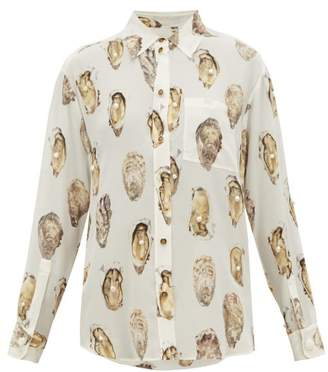 Burberry Oyster Print Pearl Embroidered Silk Blouse - Womens - White Print
