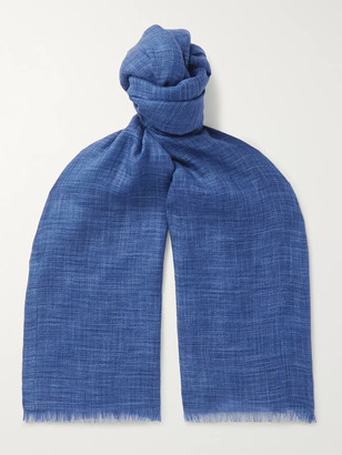 Loro Piana Brina Fringed Herringbone Melange Cashmere and Silk-Blend Scarf - Men - Blue