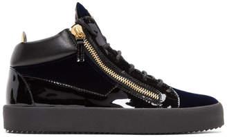 Giuseppe Zanotti Navy Velvet Veronica High-Top Sneakers