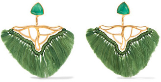 Katerina Makriyianni - Gold-plated, Quartz And Agate Earrings - Green $550 thestylecure.com