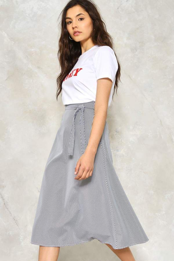nastygal Stuck in the Midi With You Gingham Skirt