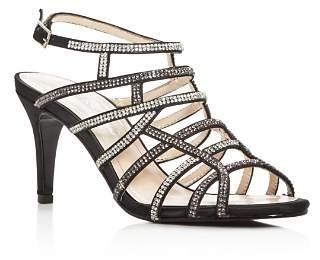 Caparros Harmonica Embellished Satin Caged High-Heel Sandals
