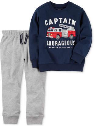 Carter's 2-Pc. Cotton Firetruck Sweatshirt & Jogger Pants Set, Baby Boys