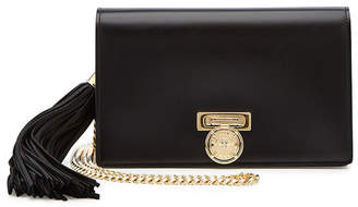 Balmain Leather Box Clutch with Chain Strap