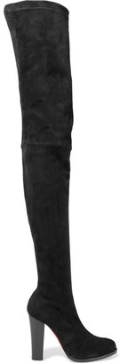 Christian Louboutin - Verusch 100 Suede Over-the-knee Boots - Black $2,195 thestylecure.com