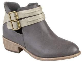 Brinley Co. Women's Faux Leather Side Slit Buckle Booties