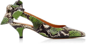Ganni Bow-Detailed Snake-Effect Leather Pumps