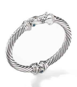 David Yurman 7mm Cable Buckle Bracelet w/ Diamonds & Topaz