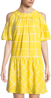 Moon River Windowpane Drop-Waist Dress