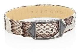 StingHD Luxe Platinum-Plated Pure Silver& Python Leather Buckled Bracelet