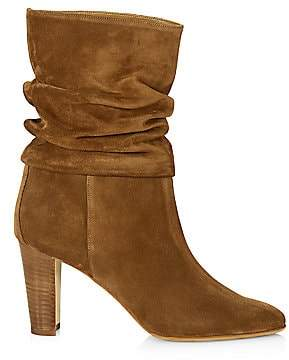 Manolo Blahnik Women's Ruched Mid-Calf Suede Boots