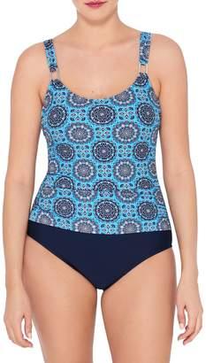 Christina Blue Geometric One-Piece Swimsuit
