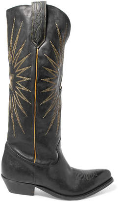 Golden Goose Wish Star Embroidered Leather Knee Boots - Black