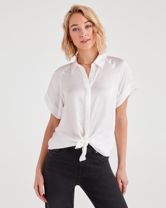 7 For All Mankind Tie Front Short Sleeve Shirt in Soft White