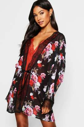 boohoo Floral Chiffon & Lace Dressing Gown