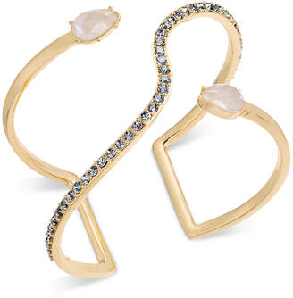 INC International Concepts I.n.c. Gold-Tone Crystal & Imitation Pearl Open Cuff Bracelet