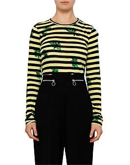 Proenza Schouler Long Sleeve T-Shirt-Printed Stripe Tissue Jersey