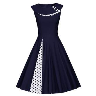 a7a0010ec68 HIKO23 Women s 50s Style Summer Sleeveless Rockabilly Pinup Vintage Swing  Dress Polka Dot O-Neck