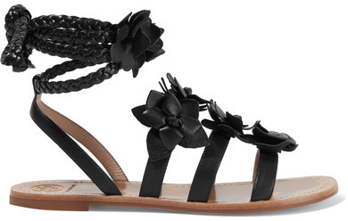 Tory Burch - Blossom Gladiator Appliquéd Leather Sandals - Black