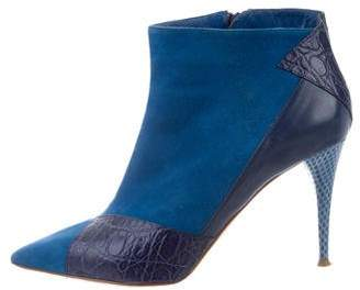 Chloé Suede Snakeskin-Trimmed Ankle Boots