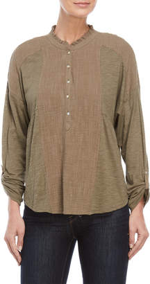 Lucky Brand Roll Tab Mix Media Henley