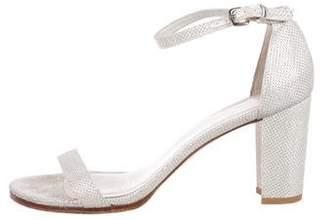 Stuart Weitzman Glitter Ankle-Strap Sandals