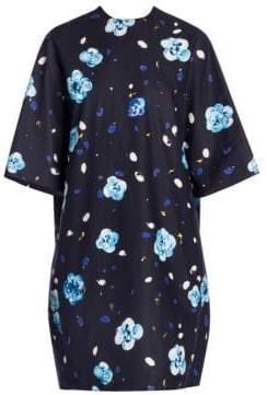 Marni Women's Floral Printed Cotton Boxy Dress - Black Blue - Size 46 (10)