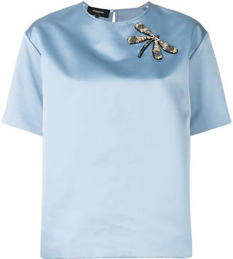 Rochas front dragonfly embellished blouse