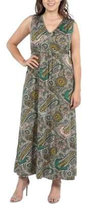 24/7 Comfort Apparel 24Seven Comfort Apparel Zooey Empire Waist Plus Size Maxi Dress