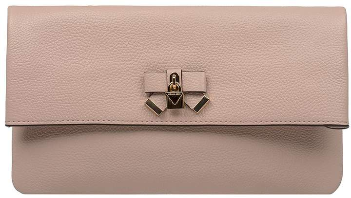 Michael Kors Blush Pink Everly Hammered Leather Clutch - PINK - STYLE