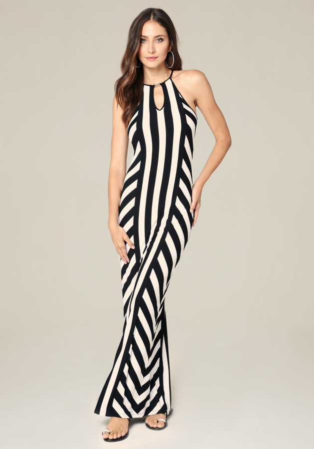 Logo Striped Maxi Dress