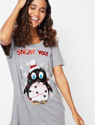 Bell Grey Penguin Embellished Christmas T-Shirt