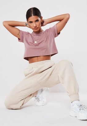 Missguided Petite Purple Roll Sleeve Crop Top