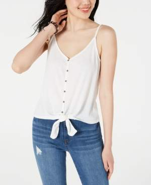 Hippie Rose Juniors' Button-Front Tie-Waist Tank Top